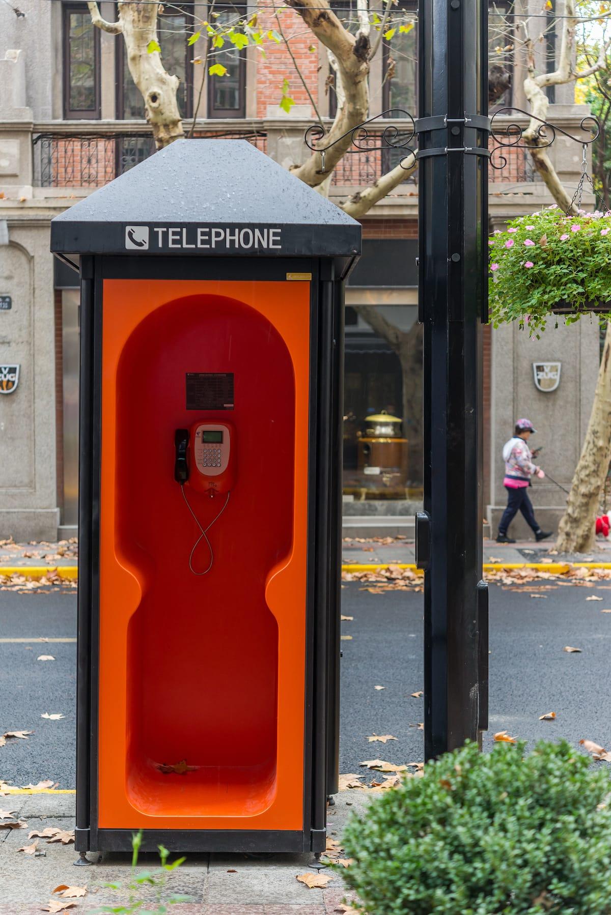 Orange Phone Booths Installed In Yuyuan Road, Shanghai